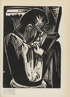 Karl Schmidt-Rottluff. Man Reading (Lesender Mann) (plate, after p. 292) from the periodical Genius. Zeitschrift für werdende und alte Kunst, vol. 3, no. 2. 1921