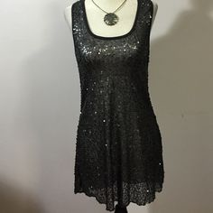 "H.I.P Sequined Tunic- Med. NWT Gorgeous  charcoal grey semi sheer nylon tunic with racerback styling- fully sequined! Length- 30"" Happening In The Present Tops Tunics"