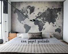 Classic Home Decor Ideas ~ Bedroom Elegant Mens Small Bedroom Decorating Ideas Contemporary Bedroom With World Map Wall Art Behind Masculine Bedroom Interior Ideas For A Small Room Map Bedroom, Home Decor Bedroom, Bedroom Wallpaper, Bedroom Artwork, Bedroom Apartment, Interior Wallpaper, Bedroom Images, Apartment Ideas, Bedroom Loft