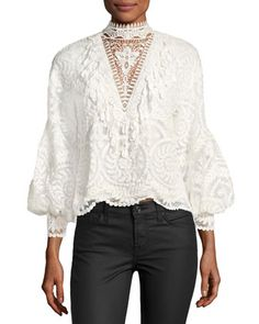 d7edbe71a4709 Yadira Bishop-Sleeve Silk Lace Blouse by Kobi Halperin at Neiman Marcus.  White Lace