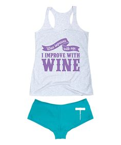 Look at this Heather White 'I Improve With Wine' Tank & Turquoise Hipster on #zulily today!