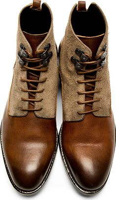Alexander Mcqueen: Brown Burnished Leather Boots.  Great looking pair of boots...
