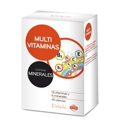 MULTIVITAMINAS Y MINERALES Complemento alimenticio a base de vitaminas y minerales. Las Vitaminas B6, C, Folatos, Ácido pantoténico, Niacina, Riboflavina y Vitamina B12 ayudan a disminuir el cansancio y la fatiga. Las Vitaminas A, C, D, B6, B12 y Folatos ayudan al funcionamiento normal del Sistema Inmunitario. 40 cápsulas.