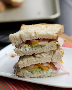 Roasted Zucchini, Yellow Pepper, Onion and Goat Cheese Sandwiches *use GF bread*