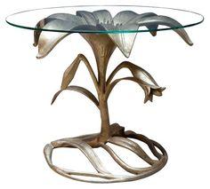 BRASS FLOWER SIDE TABLE   ARTHUR COURT SCULPTURAL TABLE