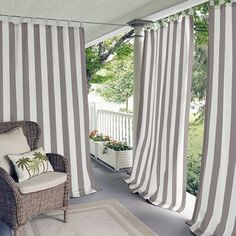 Elrene Highland Stripe Indoor/outdoor Tab Top Window Curtain Panel In Natural Indoor Outdoor, Outdoor Spaces, Outdoor Living, Tab Top Curtains, Drapes Curtains, Balcony Curtains, Screened Porch Curtains, Striped Room, My Pool