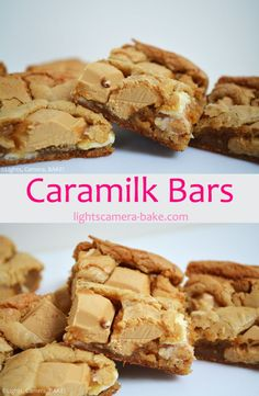 Caramilk Bars. Soft, chewy and gooey bars made with Cadbury Caramlik chocolate. These are sweet and have a caramel flavour. #caramilkchocolate #cadburycaramilk #caramilkbars