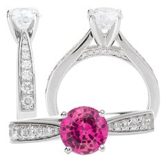 *18k white gold cathedral-style 6.5mm round pink sapphire engagement ring with diamonds