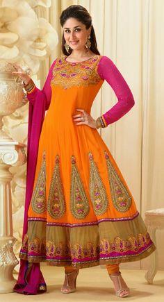 Kareena Kapoor Fuchsia And Orange #Anarkali Style Dress