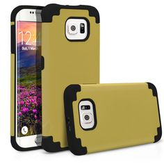 Galaxy S6 Edge Case, MagicMobile® Hybrid Ultra Protective Slim Armor Case For Samsung Galaxy S6 Edge Shockproof Skin Hard Dual Cover High Impact Case for Galaxy S6 Edge (2015) [Champagne Gold / Black]
