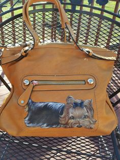 Handpainted Yorkie Handbag Painting Camel Purse Dog Art Misspaintsalot