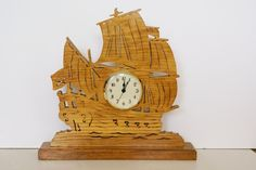 Pirate Sailing Ship Wood Mantle Clock Scroll Saw  (woodworkfiddler on Etsy)