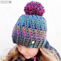Stunning Northern Lights Pom Pom Hat – Crochet Pattern from Northern Knots Canada | KnitHacker
