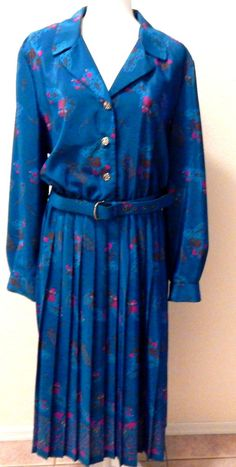 LESLIE FAY BLUE FLORAL BELTED MAXI DRESS 18 CAREER WEDDING PARTY CHURCH EUC #LESLIEFAY #Maxi