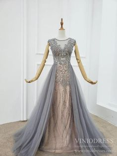 Gray Tulle Beaded Prom Dresses with Removable Skirt – Viniodress Black Sequin Prom Dress, Blush Pink Prom Dresses, Satin Formal Dress, Junior Prom Dresses, Sequin Prom Dresses, Beaded Prom Dress, Lace Bridesmaid Dresses, Mermaid Prom Dresses, Prom Dresses With Pockets