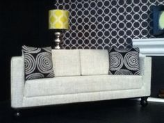 "Grey Fabric Modern Doll Sofa, Dollhouse Furniture, 1:6 Scale, 10""-12"" Dolls"