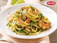 Barilla Bavette mit Pesto alla Genovese, Garnelen und grünen Bohnen Pesto Pasta, Pesto Genovese, Fish Recipes, Noodles, Dishes, Ethnic Recipes, Food, Gnocchi, Ideas