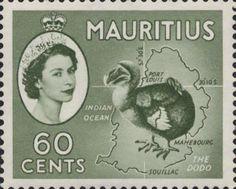 Додо на почтовой марке Маврикия (1954)