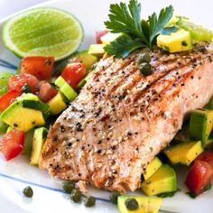 Black Pepper Salmon with Avocado Salad - Skinny Ms.  Good, but too much honey, I would do 1/2 amount or even less. - JS