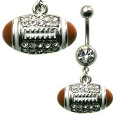 Multi Jewel Football Dangle Belly Ring Surgical Steel