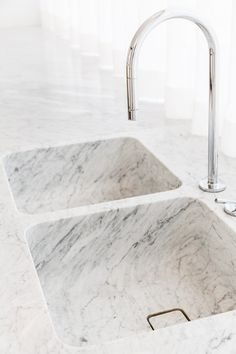 In love. Flush marble sink with marble countertops.