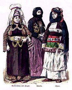 Kurdish women from Yozgat, Preveza, Chios late 19. century.