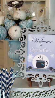 Welcome sign and decorations at a Narnia Winter Wonderland Birthday Party!  See more party ideas at CatchMyParty.com!