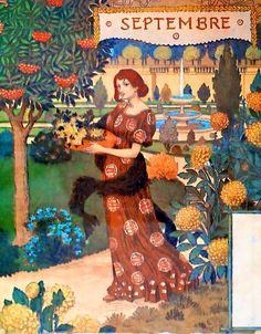 Eugène Grasset | September | Dessins pour le calendrier de La Belle Jardinière (1896)
