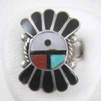 Zuni Sunface Vintage Ring with Black Jet Feathers