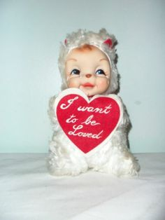 Rare Vintage Rushton I WANT TO BE LOVED VALENTINE RUBBER FACE Stuffed Bear