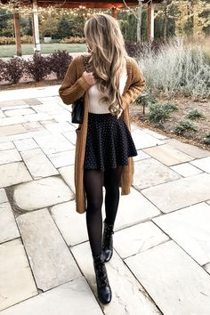 Herbst Senf Cardigan von x - Herbst- & Wintermode -. - Herbst Senf Cardigan von x – Herbst- & Wintermode – Source by mikupii - Winter Date Night Outfits, Cozy Winter Outfits, Cute Fall Outfits, Outfits For Teens, Trendy Outfits, Winter Outfits With Skirts, Outfits With Tights, Outfits With Skater Skirts, Dress And Tights Outfit