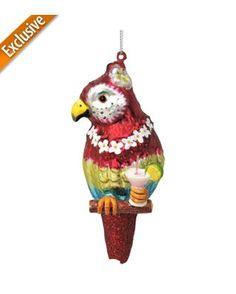 Margaritaville Glass Parrot Ornament