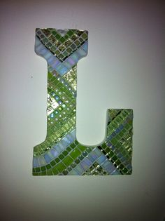 Custom Mosaic Art 9 inch Letter Lime Green Iridescent Metallic Glass Mosaic Art Keepsake make for the kids? Baby Monogram, Monogram Letters, Mosaic Wall, Mosaic Glass, Glitter Tiles, Letter Wall Decor, Photo Mosaic, Mosaic Projects, Diy