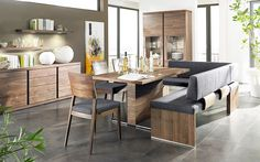 contemporary-style-furniture-in-dining-room-with-contemporary-style-interior-design-with-oak-wooden-dining-furniture-sets-with-grey-fabric-cushion