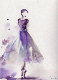 Ballerina Original Watercolor Painting Ballet Dance Watercolor Art Purple Scale: Medium: Saint-Petersburg Watercolors White Nights on Canson water color cold press paper 140 lb Signed, titled and dated on back. Not framed. All paintings are wrapped in a Watercolor Drawing, Painting & Drawing, Watercolor Dancer, Watercolor Fashion, Dress Painting, Watercolor Portraits, Photo To Watercolor, Dancer Drawing, Fashion Painting