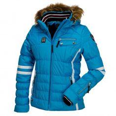 Icepeak, Caia gewatteerde ski-jas met bontkraag, dames, blauw/turquoise
