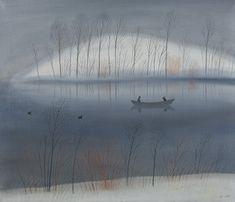 Saara  Tikka: Talvinen soutu, 1984, öljy kankaalle, 60x70 cm - Oulun Taidemuseo