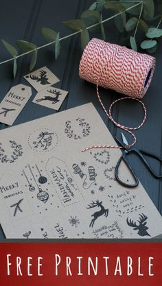 Free printable hand- on brown kraft paper, cute idea with twine and jingle bells.