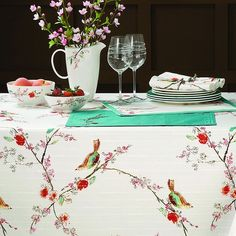 Lenox Chirp Microfiber Tablecloth Floral Tablecloth, Oblong Tablecloth, Teal Accents, Table Covers, Table Linens, Tablecloths, Tabletop, Bird Patterns, China Patterns