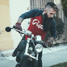Trig Perez - long full thick black beard and mustache dark beards bearded man men mens' style biker model fashion clothing tattoos tattooed motorcycle so handsome #beardsforever