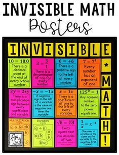 Invisible Math Posters and Worksheet Invisible Math Posters or Handout Math Help, Fun Math, Math Games, Math Math, Math Fractions, Multiplication, Math Teacher, Teaching Math, Math Classroom Decorations