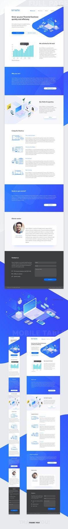 Landing page represents one of the most popular outsourcing industry - finance. The visual style of landing page - clear and light. It's a metaphor for the finance industry - show transparency and minimalism style. We have used bright blue color for creat…