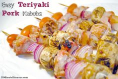 I love adding easy Teriyaki Pork Kabobs to my Summer Entertaining. It's easy to mix and match vegetables and meats, plus they grill up in minutes. Pork Recipes, Cooking Recipes, Healthy Recipes, Healthy Food, Healthy Eating, Summer Recipes, Great Recipes, Favorite Recipes, How To Eat Paleo