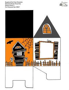 Parte 1 de 2. Caja-casa Halloween Casa Halloween, Halloween Party Themes, Halloween Village, Halloween Season, Halloween Projects, Halloween 2019, Holidays Halloween, Halloween Decorations, Imprimibles Halloween