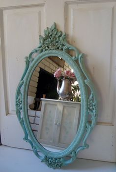 Blue Vintage Ornate Mirror Aqua Blue Large by WillowsEndCottage, $135.00