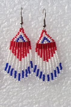 Earrings  Beautiful  Patriotic Red White and by Cre8tiveXpression