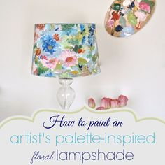 How to paint a lamp shade with acrylic paints inspired by an artist's impressionistic painting.Inspired by the water color trend, This is a step by step tutorial . Floral Lampshade, Make A Lampshade, Fabric Lampshade, Lampshades, Painting Lamp Shades, Painting Lamps, Fabric Painting, Acrylic Painting Techniques, Using Acrylic Paint