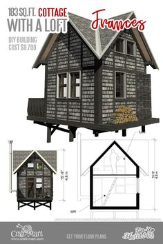 Absolutely charming Micro House Plans with Loft. Like all micro home plans with loft, Frances is designed mainly for short-term living. The floor and the walls are insulated well enough to withstand even harsh winters. Micro House Plans, House Plan With Loft, Tiny House Loft, Tiny House Trailer, Small House Plans, House Floor Plans, Building Costs, Built In Bookcase, Cool Woodworking Projects