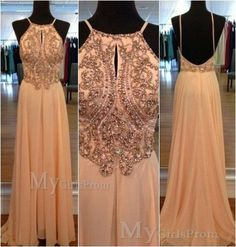Custom Made A line Beaded Backless Long Prom Dresses, Prom Dress 2014, Evening Dresses, Dresses For Prom, Formal Dresses