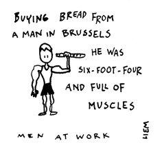 Men At Work. Land Down Under. 365 illustrated lyrics project, Brigitte Liem.